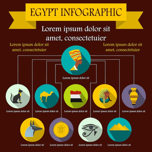 Éléments D'infographie Egypte Dans Un Style Plat Pour N'importe Quelle Conception Vecteur Premium