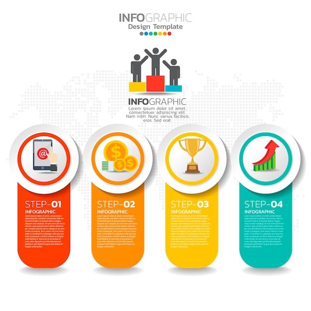 Éléments D'infographie D'entreprise Avec 4 Options Ou étapes Vecteur Premium
