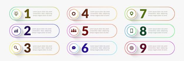 Éléments d'infographie de flux de travail coloré, processus d'entreprise avec segment à étapes multiples Vecteur Premium