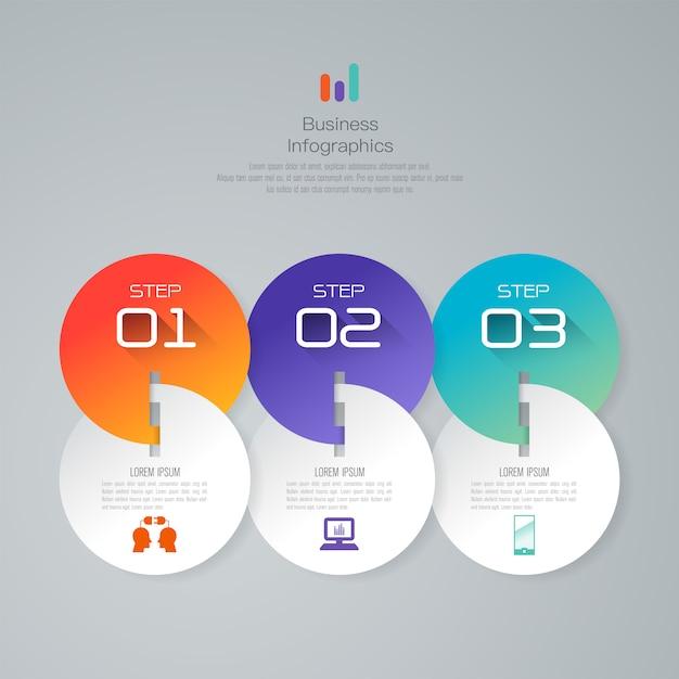 Éléments d'infographie métier en 3 étapes pour la présentation Vecteur Premium