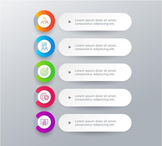 Éléments d'infographie métier en 5 étapes Vecteur Premium