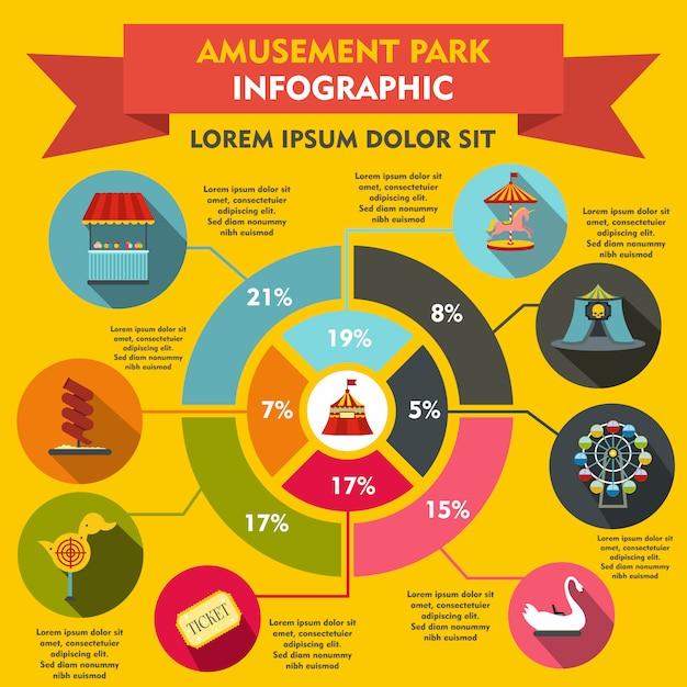 Éléments D'infographie De Parc D'attractions Dans Un Style Plat Pour N'importe Quelle Conception Vecteur Premium