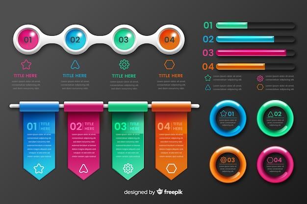 Éléments d'infographie en plastique brillant réaliste Vecteur gratuit