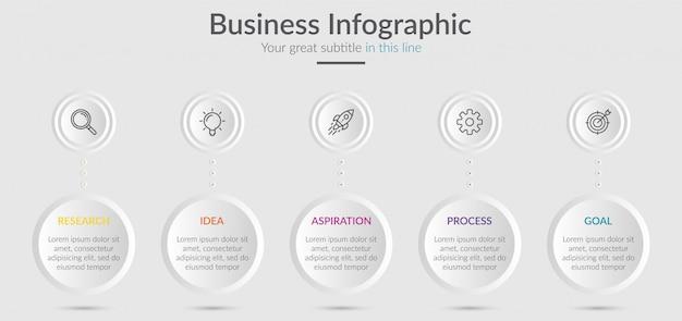 Éléments d'infographie pour le contenu avec des icônes et des options ou des étapes. Vecteur Premium