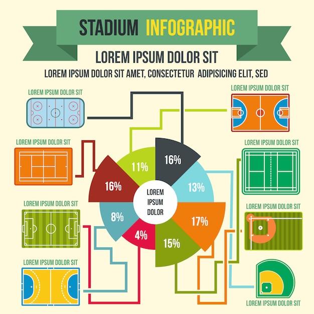 Éléments d'infographie de stade dans un style plat pour n'importe quelle conception Vecteur Premium