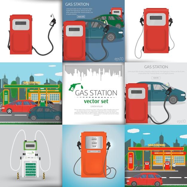 Éléments d'infographie de station-service et arrière-plans Vecteur Premium