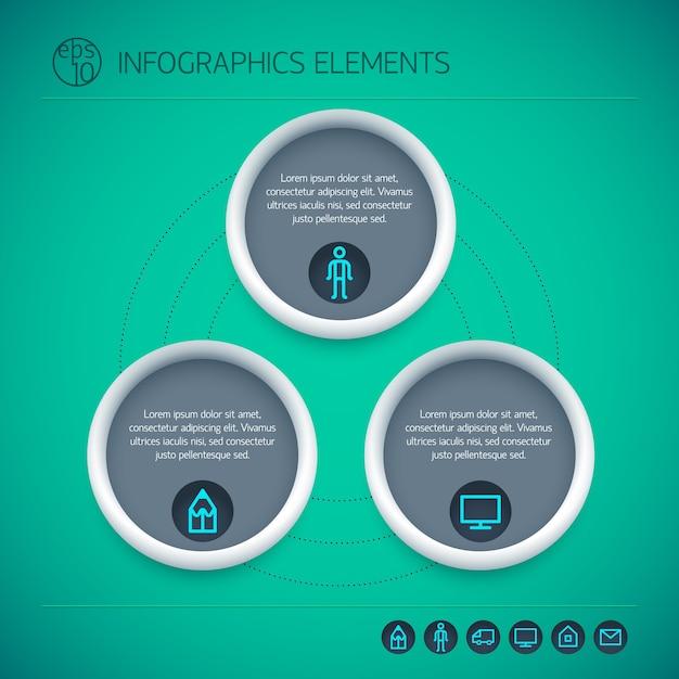 Éléments Infographiques Abstraits Avec Des Cercles Texte Trois Options Et Icônes Sur Fond Vert Isolé Vecteur gratuit