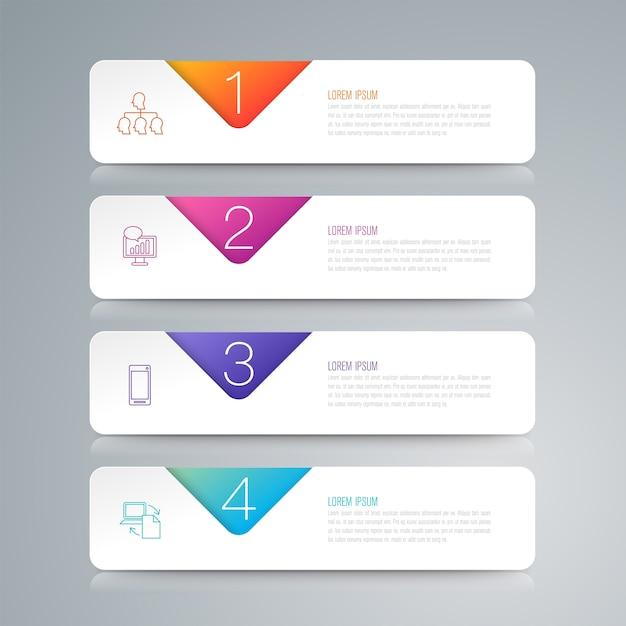 Éléments infographiques d'affaires de 4 étapes pour la présentation Vecteur Premium
