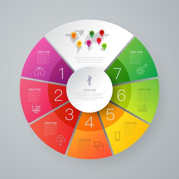 Éléments infographiques d'affaires en 7 étapes pour la présentation Vecteur Premium
