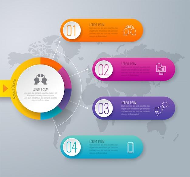 Éléments infographiques de la chronologie pour la présentation Vecteur Premium