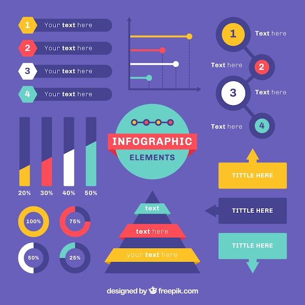 Éléments Infographiques Colorés En Design Plat Vecteur gratuit