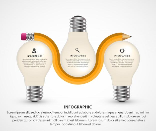 Éléments infographiques avec crayon et ampoule Vecteur Premium