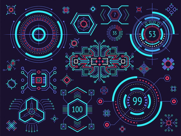 Éléments Infographiques Du Hud. éléments D'affichage Tête Haute Pour Le Web Et L'application. Interface Utilisateur Futuriste. Vecteur Premium