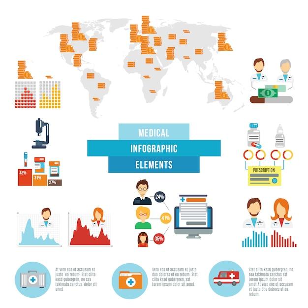 Éléments infographiques de faits de données médicales Vecteur gratuit