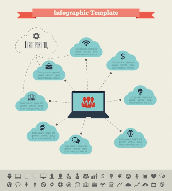 Éléments infographiques de l'industrie informatique Vecteur Premium
