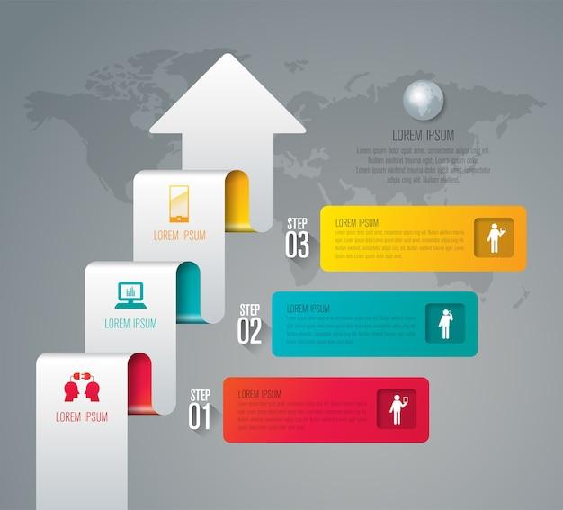 Éléments infographiques métier en 3 étapes pour la présentation Vecteur Premium