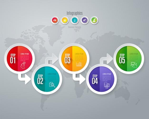Éléments infographiques métier en 5 étapes pour la présentation Vecteur Premium