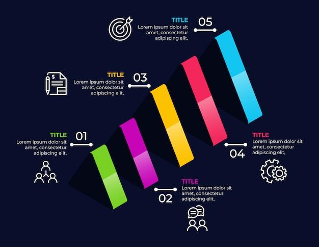 Éléments infographiques métier avec 5 options Vecteur Premium