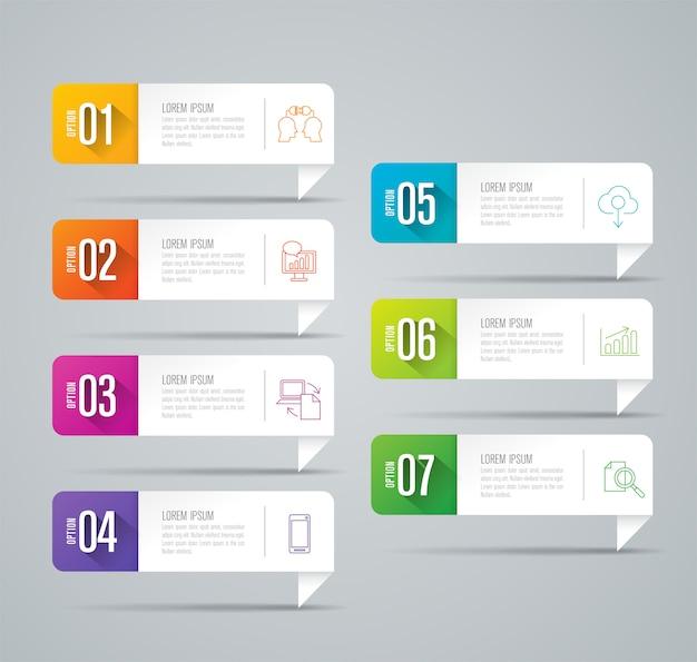 Éléments infographiques métier en 7 étapes pour la présentation Vecteur Premium