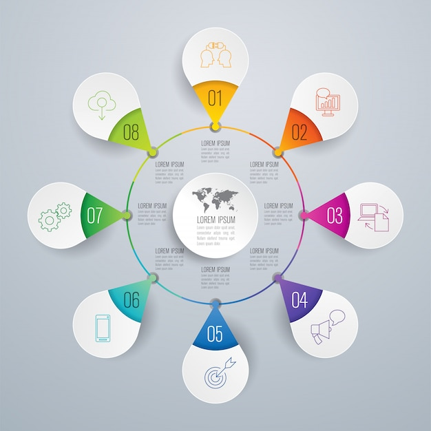 Éléments infographiques métier en 8 étapes pour la présentation Vecteur Premium