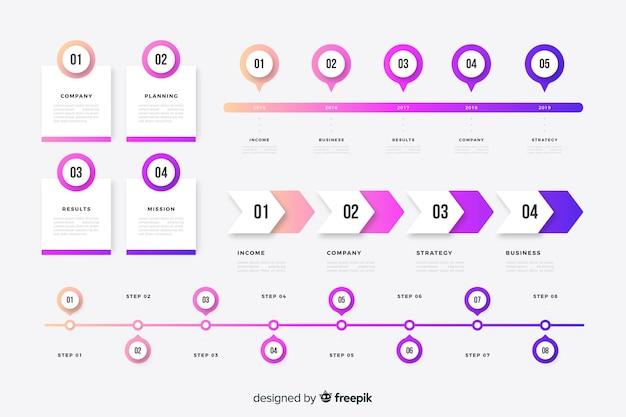 Éléments infographiques de la timeline colorée Vecteur gratuit