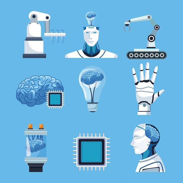Éléments d'intelligence artificielle Vecteur Premium