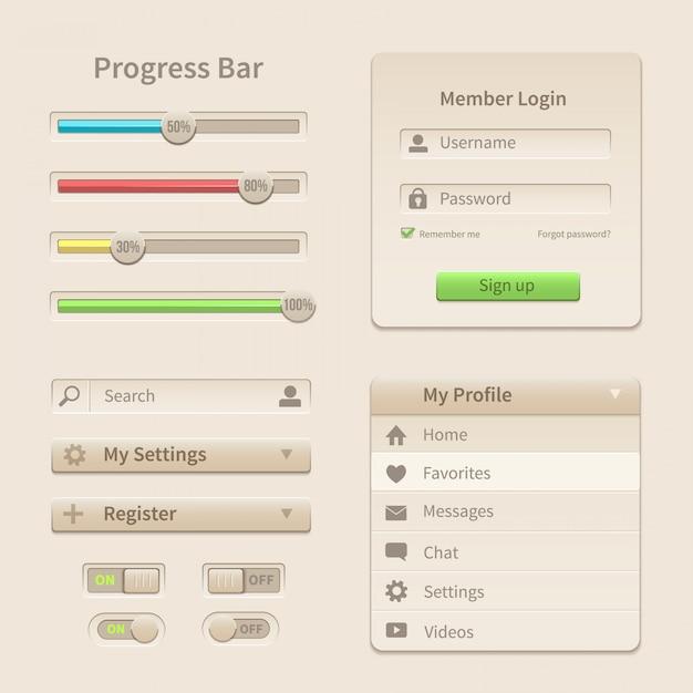 Éléments d'interface et outils pour le web et le mobile. Vecteur Premium