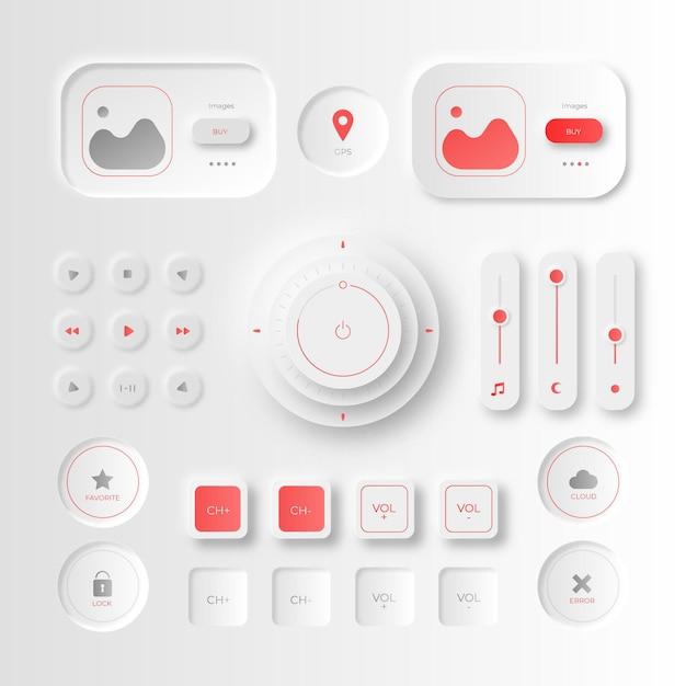 Éléments D'interface Utilisateur De Conception Neumorphique Vecteur gratuit