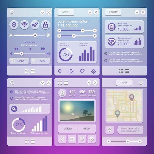 Éléments D'interface Utilisateur Pour Les Applications Mobiles. Vecteur Premium