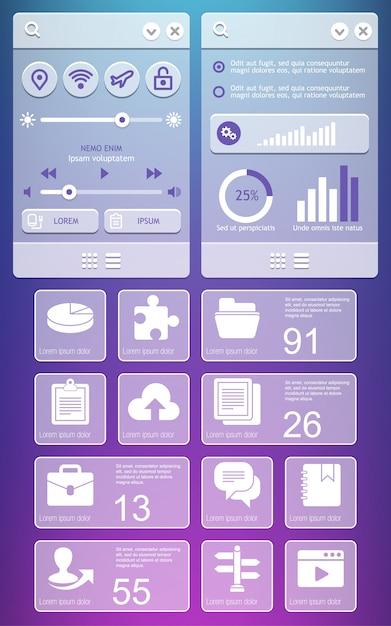 Éléments De L'interface Utilisateur. Vecteur Premium