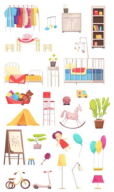Éléments Intérieurs De Chambre D'enfants Sertis D'illustration De Vêtements, Meubles, Jouets, Plantes, Vélo Et Scooter Vecteur gratuit
