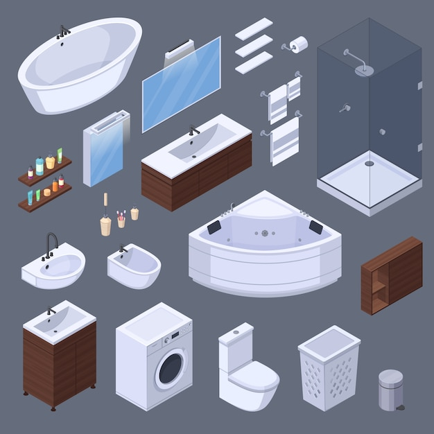 Éléments intérieurs isométriques de salle de bains avec des meubles et des équipements de lavabo isolés des images sur illustration vectorielle fond gris Vecteur gratuit