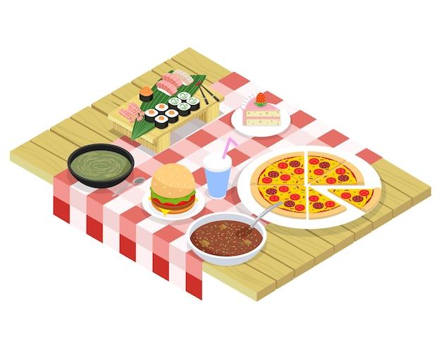 Éléments Isométriques Alimentaires Sur Table. Dessert Sucré, Boisson Et Collation, Hamburger Et Petit-déjeuner Vecteur Premium