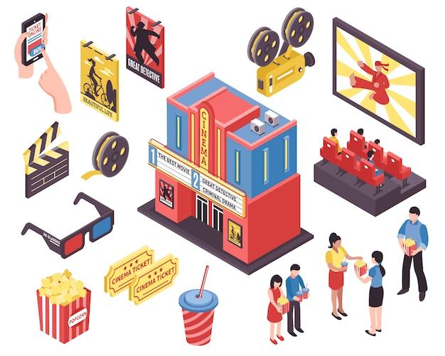 Éléments isométriques du théâtre de cinéma Vecteur gratuit