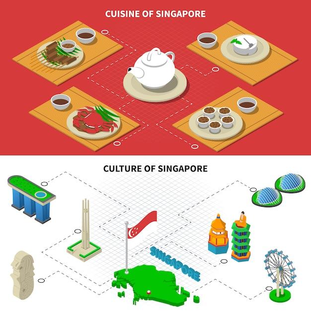Éléments isométriques de singapour culture cuisine Vecteur gratuit