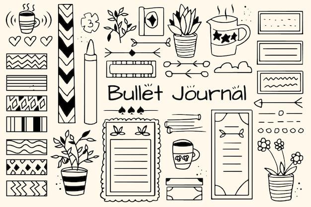 Éléments De Journal De Balle Dessinés à La Main Vecteur gratuit