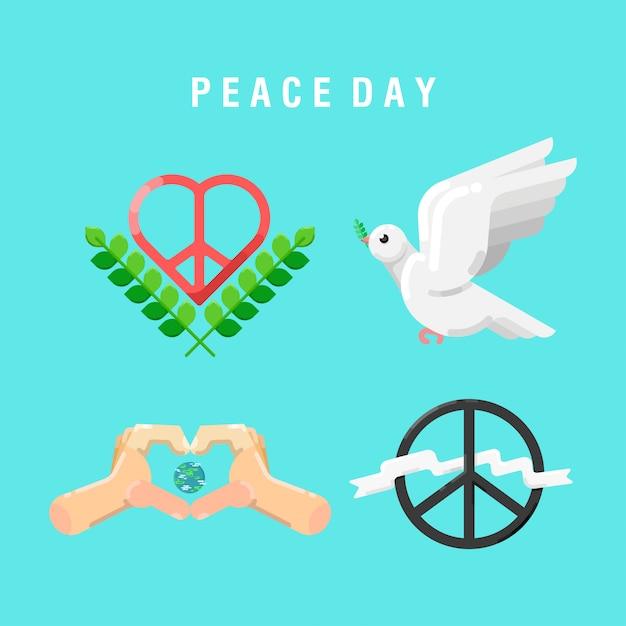 Eléments de la journée de la paix Vecteur Premium