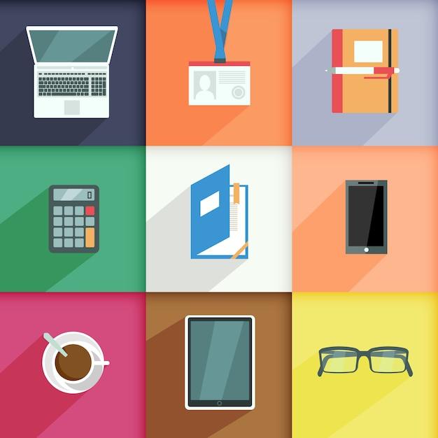 Éléments de lieu de travail sertie d'ordinateur passe ordinateur portable calculatrice isolé illustration vectorielle Vecteur gratuit