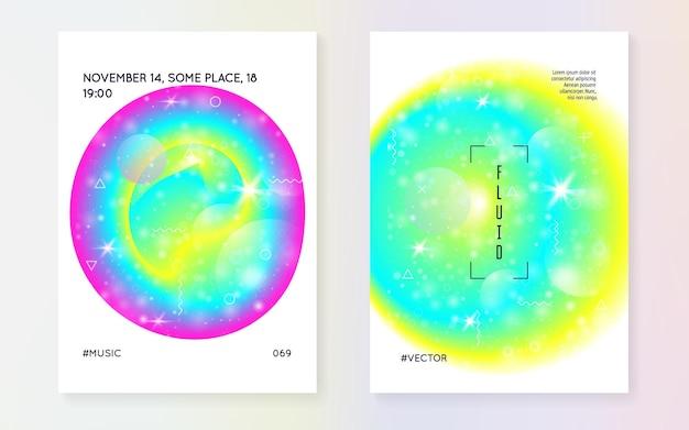 Éléments Liquides. Gradient Holographique Moderne, Flou, Maille, Mélange. Magazine Chimique. Contexte Futuriste. Vecteur Premium