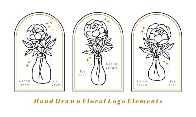 Éléments De Logo Beauté Féminine Dessinés à La Main Avec Fleur De Pivoine, Branche De Feuille Et Bouteille Vecteur Premium