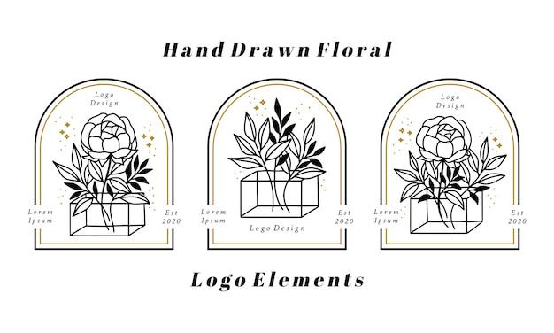 Éléments De Logo Beauté Féminine Dessinés à La Main Avec Fleur De Pivoine Et Branche De Feuille Vecteur Premium