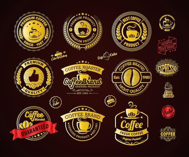 Éléments de logo et étiquettes de café d'or Vecteur Premium