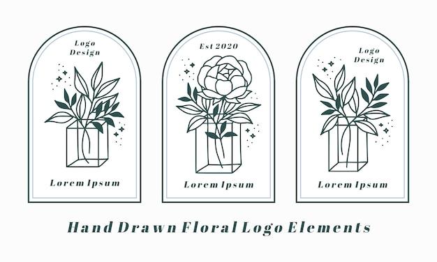 Éléments De Logo Féminin Dessinés à La Main Avec Fleur De Pivoine Et Branche De Feuille Vecteur Premium