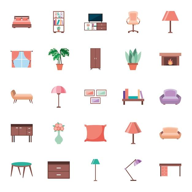Éléments de maison de meubles mis des icônes Vecteur gratuit