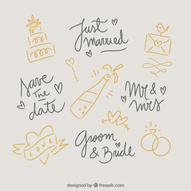 Éléments De Mariage Doodles Vecteur Premium