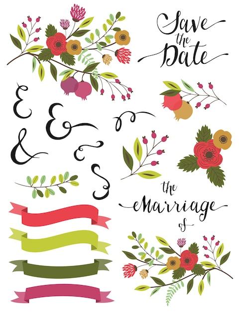 Éléments de mariage. Vecteur Premium