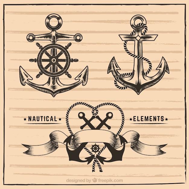 Éléments marins dessinés à la main Vecteur gratuit