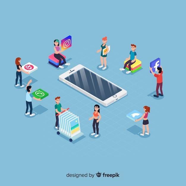 Éléments de médias sociaux dans le style isométrique Vecteur gratuit
