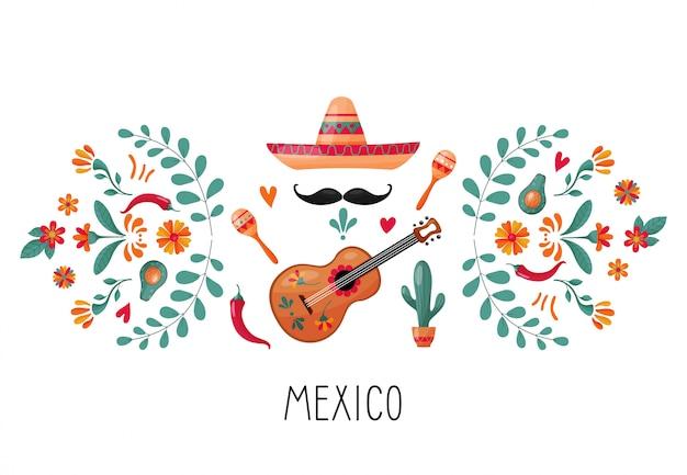 Éléments mexicains et décoration florale Vecteur Premium
