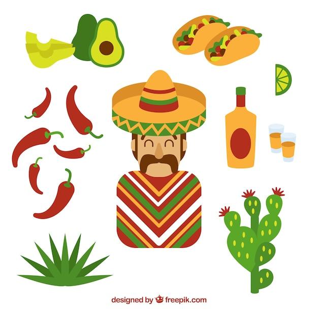 Éléments mexicains mignons Vecteur gratuit